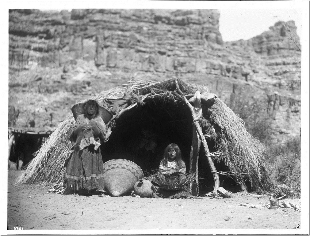 Two_Havasupai_Indian_women_in_front_of_a_native_dwelling,_Havasu_Canyon,_ca.1899_(CHS-3791)